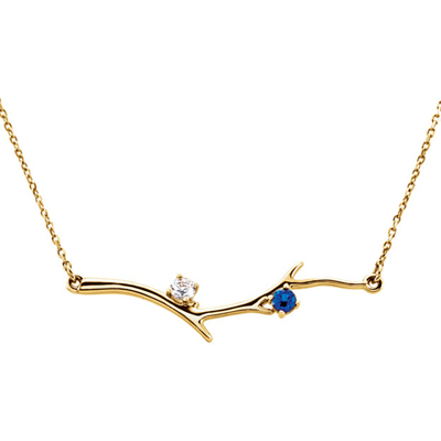 2 Stone 14K Yellow Gold Birthstone Branch Necklace