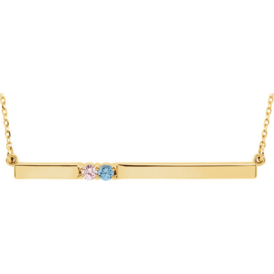2 Stone Sweetheart Bar Necklace in 14K Yellow Gold
