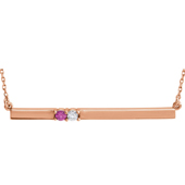 2 Stone Sweetheart Bar Necklace in 14K Rose Gold