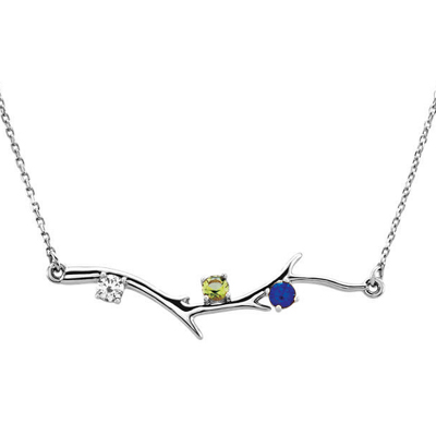 3 Stone 14K White Gold Birthstone Branch Necklace