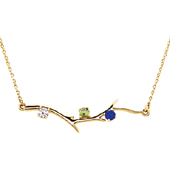 3 Stone 14K Yellow Gold Birthstone Branch Necklace