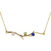 3 Stone 14K Yellow Gold Birthstone Branch Necklace