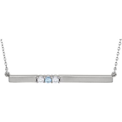 3 Stone Birthstone Bar Necklace in 14K White Gold