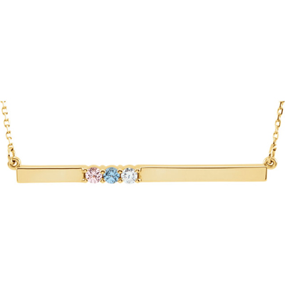 3 Stone Birthstone Bar Necklace in 14K Yellow Gold