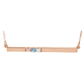 3 Stone Birthstone Bar Necklace in 14K Rose Gold