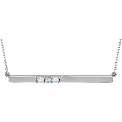 3 Stone Birthstone Bar Necklace in Sterling Silver