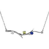 3 Stone Sterling Silver Birthstone Branch Necklace
