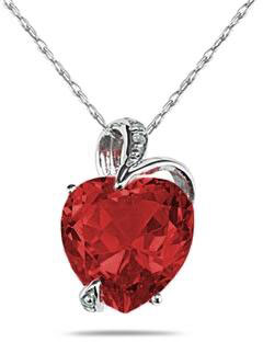 4.75 Carat Heart-Shaped Garnet and Diamond Pendant, 14K White Gold
