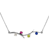 4 Stone 14K White Gold Birthstone Branch Necklace