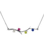 4 Stone 14K White Gold Birthstone Branch Necklace