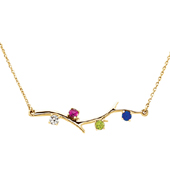 4 Stone 14K Yellow Gold Birthstone Branch Necklace