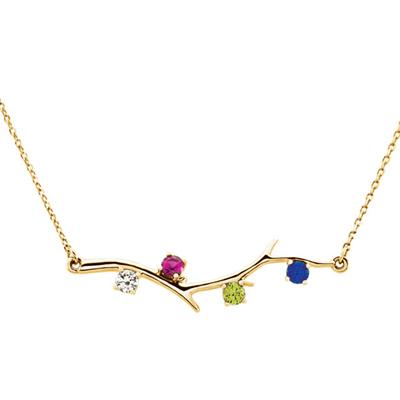 4 Stone 14K Yellow Gold Birthstone Branch Necklace