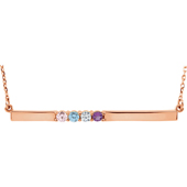 4 Stone Birthstone Bar Necklace in 14K Rose Gold