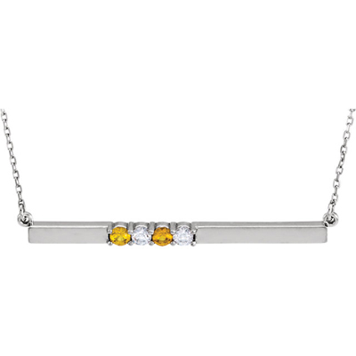 4 Stone Birthstone Bar Necklace in 14K White Gold