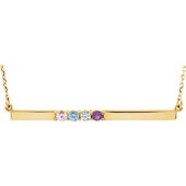 4 Stone Birthstone Bar Necklace in 14K Yellow Gold