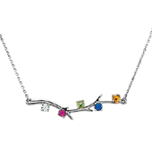 5 Stone 14K White Gold Birthstone Branch Necklace