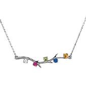 5 Stone 14K White Gold Birthstone Branch Necklace