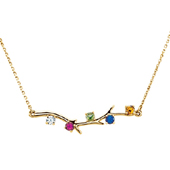 5 Stone 14K Yellow Gold Birthstone Branch Necklace