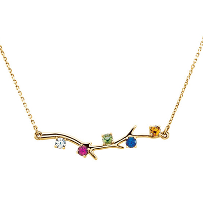 5 Stone 14K Yellow Gold Birthstone Branch Necklace