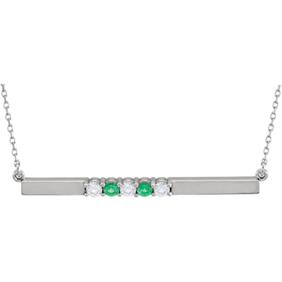 5 Stone Birthstone Bar Necklace in 14K White Gold