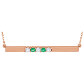 5 Stone Birthstone Bar Necklace in 14K Rose Gold