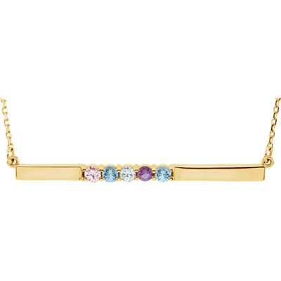 5 Stone Birthstone Bar Necklace in 14K Yellow Gold