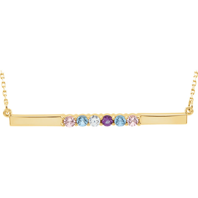 6 Stone Birthstone Bar Necklace in 14K Yellow Gold
