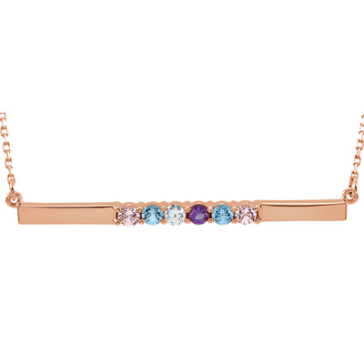6 Stone Birthstone Bar Necklace in 14K Rose Gold