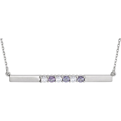 6 Stone Birthstone Bar Necklace in 14K White Gold