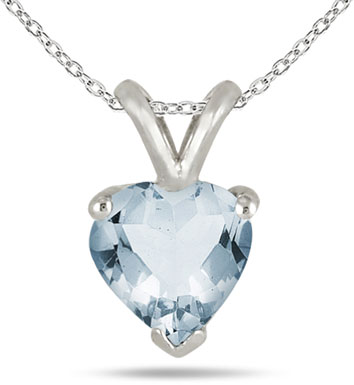 6mm Heart-Shaped Aquamarine Necklace, 14k White Gold