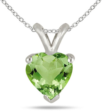 6mm Peridot Heart-Shaped Gemstone Necklace, 14K White Gold