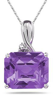 7.60 Carat Emerald-Cut Amethyst  & Diamond Pendant, 10K White Gold