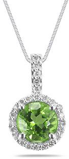 7mm Round Peridot and Diamond Pendant in 14K White Gold