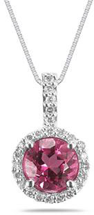 7mm Round Pink Topaz and Diamond Pendant in 14K White Gold