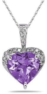 8mm x 8mm Amethyst Diamond Heart Necklace in 10K White Gold