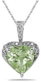 8mm Green Amethyst & Diamond Heart Pendant 10K White Gold