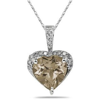 8mm Heart-Cut Smoky Quartz & Diamond Necklace 10K White Gold