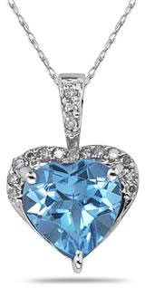 8mm Heart-Shape Blue Topaz & Diamond Necklace, 10K White Gold