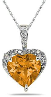 8mm Heart-Shape Citrine & Diamond Pendant 10K White Gold