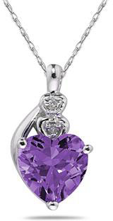 Amethyst & Diamond Heart Necklace 10K White Gold