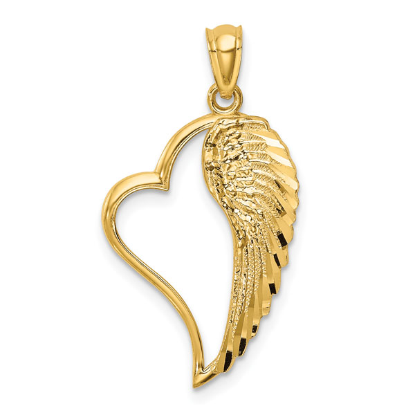 Angel Wing Heart Pendant in 14K Gold