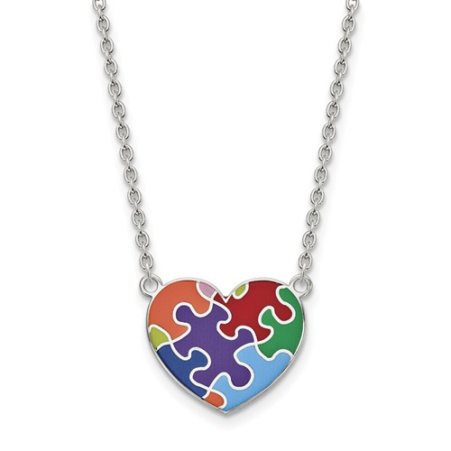 Autism Awareness Heart Neckace, Sterling Silver, Enameled