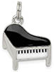 Black and White Enameled Piano Charm Pendant, Sterling Silver