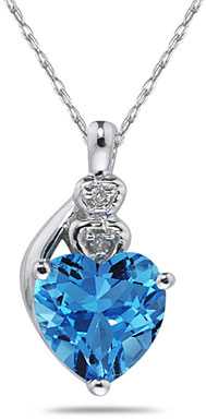 Blue Topaz & Diamond Heart Necklace 10K White Gold