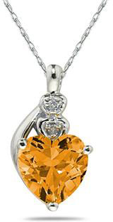 Citrine & Diamond Heart Necklace 10K White Gold