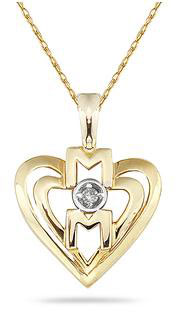 Diamond and Heart MOM Pendant in 14K Yellow Gold