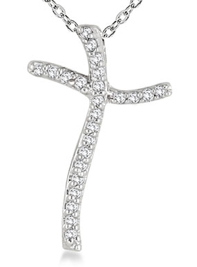 1/10 Carat Diamond Curved Cross Pendant in 10K White Gold