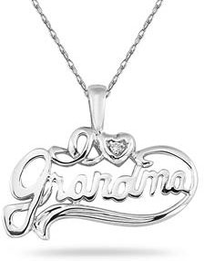 Diamond Grandma Pendant in 14K White Gold