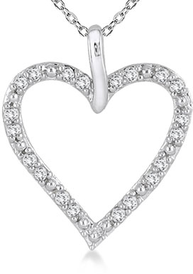 1/4 Carat Prong-Set Heart Necklace in 10K White Gold