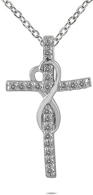 1/5 Carat Diamond Infinity Heart Cross Necklace, 10K White Gold